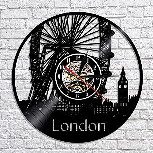 Reloj de Pared de Vinilo Vintage Noria de Londres Big Ben Silueta decoración del hogar Handmade Amueblar Hogar Oficina Obras de Arte Hechas a Mano 7 Colores