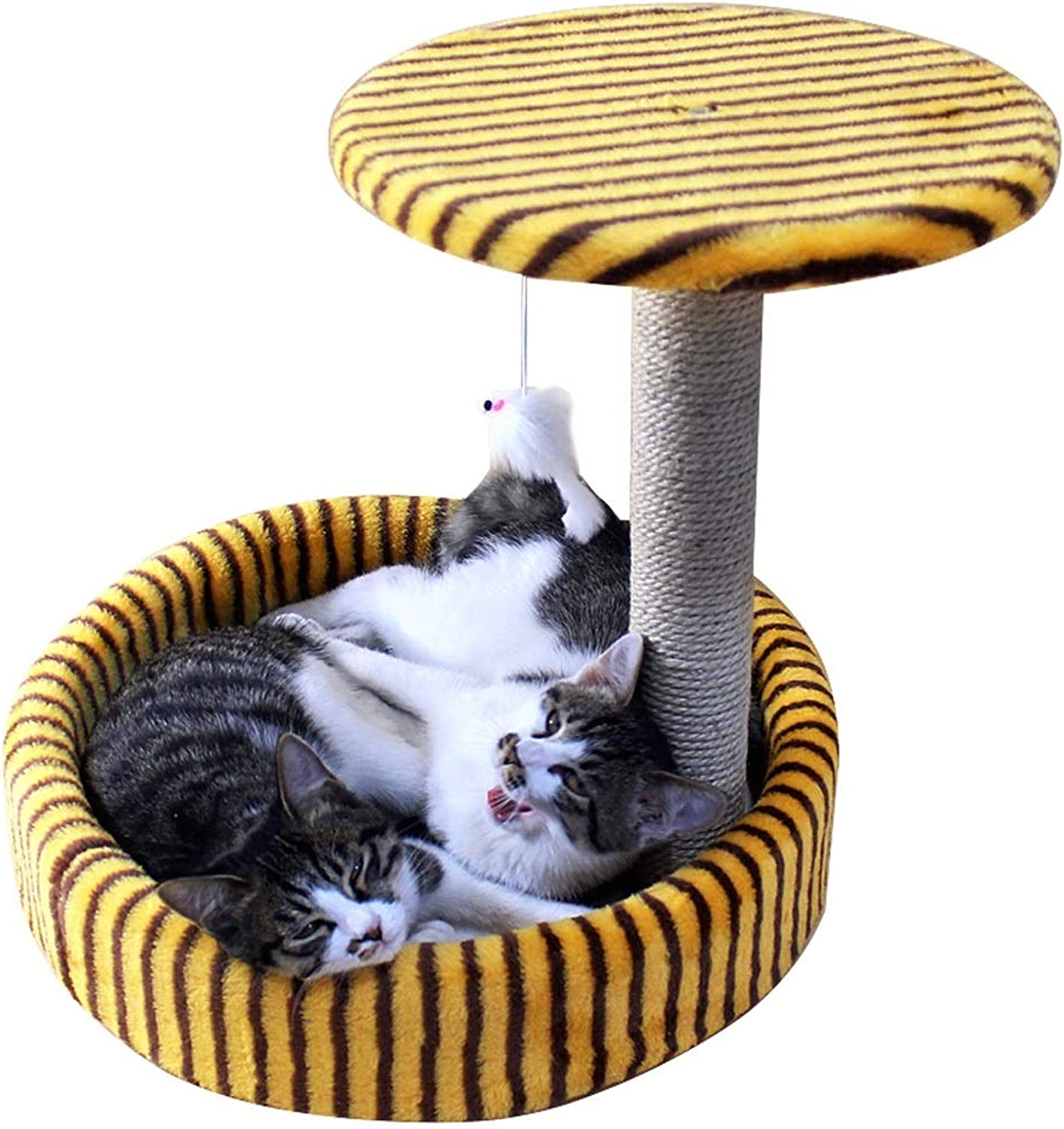 Cat climbing toys, cat nest + toy combo, bold sisal cat scratch board, grinding claws, cat paradise, plush mouse hanging toys, two colors to choose from, cat litter diameter 15.7 inches, height 13.4 i