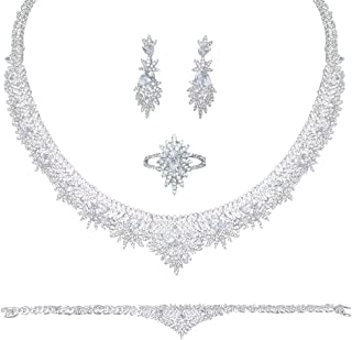 Aoligrace Luxury 3A Cubic Zirconia Jewelry Set Arabic Dubai CZ Necklace Earring Bracelet and Ring Set for Women 4Pcs Weddi...