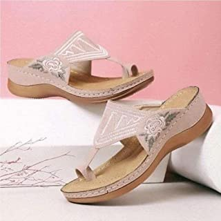 Big Toe Correction Sandals Flat PU Leather Shoes Platform Slip-On Slippers Ethnic Style Flower Open Toe Leather Sandals Ou...