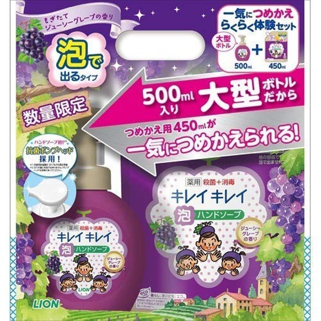 アクチュエータ人道的文化キレイキレイ 薬用泡ハンドソープ ジューシーグレープ 本体+つめ替えセット 500g+450g