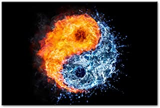 LIPENGYU Canvas Painting Fire and Water Yin and Yang-50x70cm No Frame