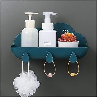Étagère d'angle Douche Mur d'angle tablettes de rangement Meuble de rangement avec crochets salle de bains étagères Triang...