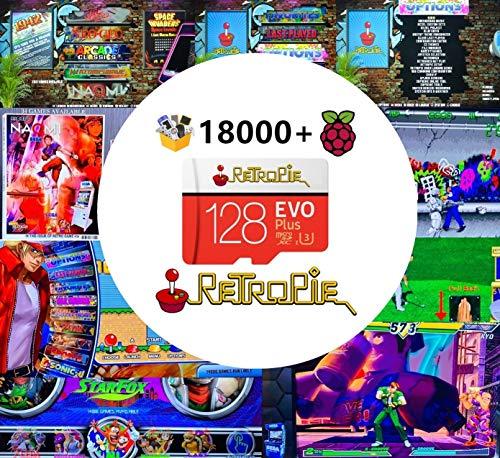 RetroPie SD Card 128GB for Raspberry Pi 3 B+ with 18000+ Games for 30+ Sytems Diyable Emulation Station Games Plug&Play