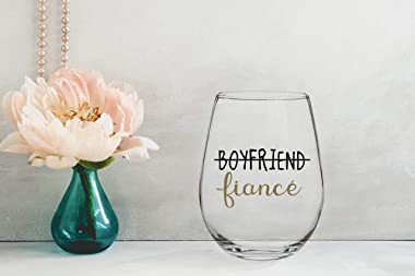 Boyfriend and Girlfriend 15 oz Stemless Wine Glasses (Set of 2) - Unique Engaged Wine Glasses for Fiance - Unique Engagement