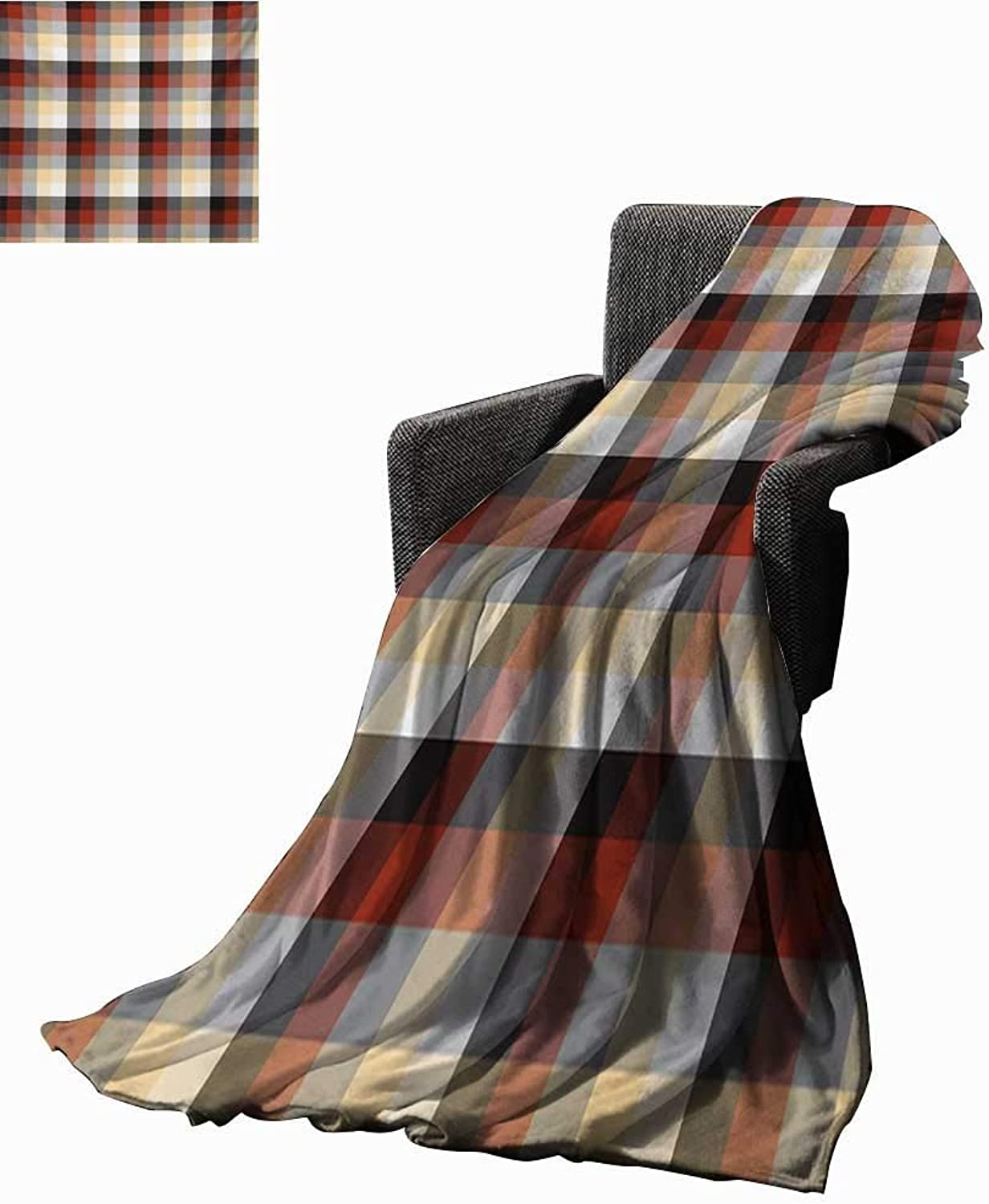 Plaid Digital Printing Blanket Checkered Squares Pattern with colorful Quilt Design Abstract Geometric Arrangement,Super Soft and Comfortable,Suitable for Sofas,Chairs,beds