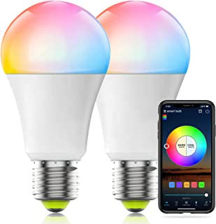 HaoDeng WiFi LED Light, 2Pack Smart Bulb -Timer& Sunrise& Sunset- Dimmable, Multicolor, Warm White (Color Changing Disco B...