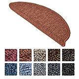 Beautissu Set 15 Alfombras pequeñas semicirculares ProStair Escalera - 55x15 cm - òxido Ribeteado, antidelizante y Adhesiva