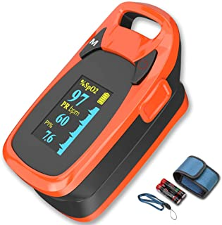 Fingertip Pulse Oximeter with Plethysmograph and Perfusion Index, Include Carrying case, Large OLED Digital Display Blood Oxygen Saturation Monitor Heart Rate Monitor (Color: Red-Orange)