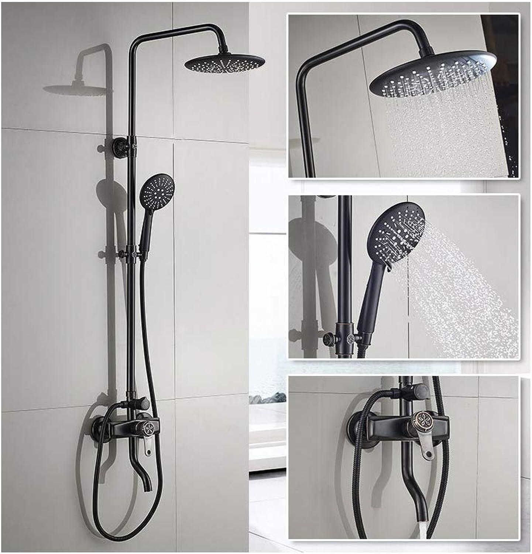 All-Kupfer schwarz Duschset, Multifunktions mit Bidet, Hebe- und Boost-Duschkopf, Dusche, Lift-Typ-Ladedusche, Multifunktionsdusche, einstellbare Temperaturregelung,-schwarz2
