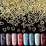 PAGOW 2000pcs Heart Nail Art Decals, Metal Love Nail Art Stickers DIY Nail Decoration Accessories for Women Girls(5/6mm)