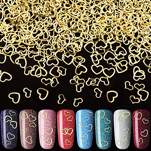 PAGOW 1000pcs Heart Nail Art Decals, Metal Love Nail Art Stickers DIY Nail Decoration Accessories for Women Girls(5/6mm)