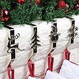 Molinter - Set di 4 ganci per camino, calza di Babbo Natale, supporto per scarponi di Babbo Natale