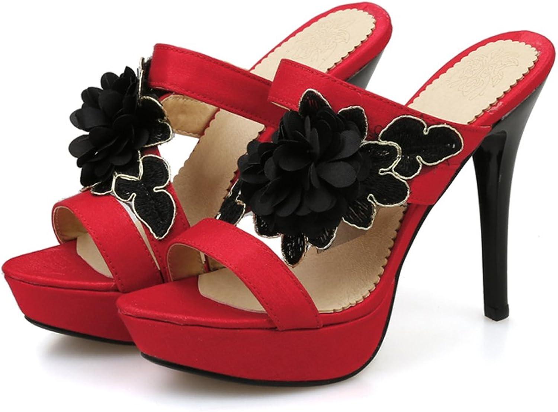 AIWEIYi Womens Stilettos High Heels Slippers Platform Flip Flops Black