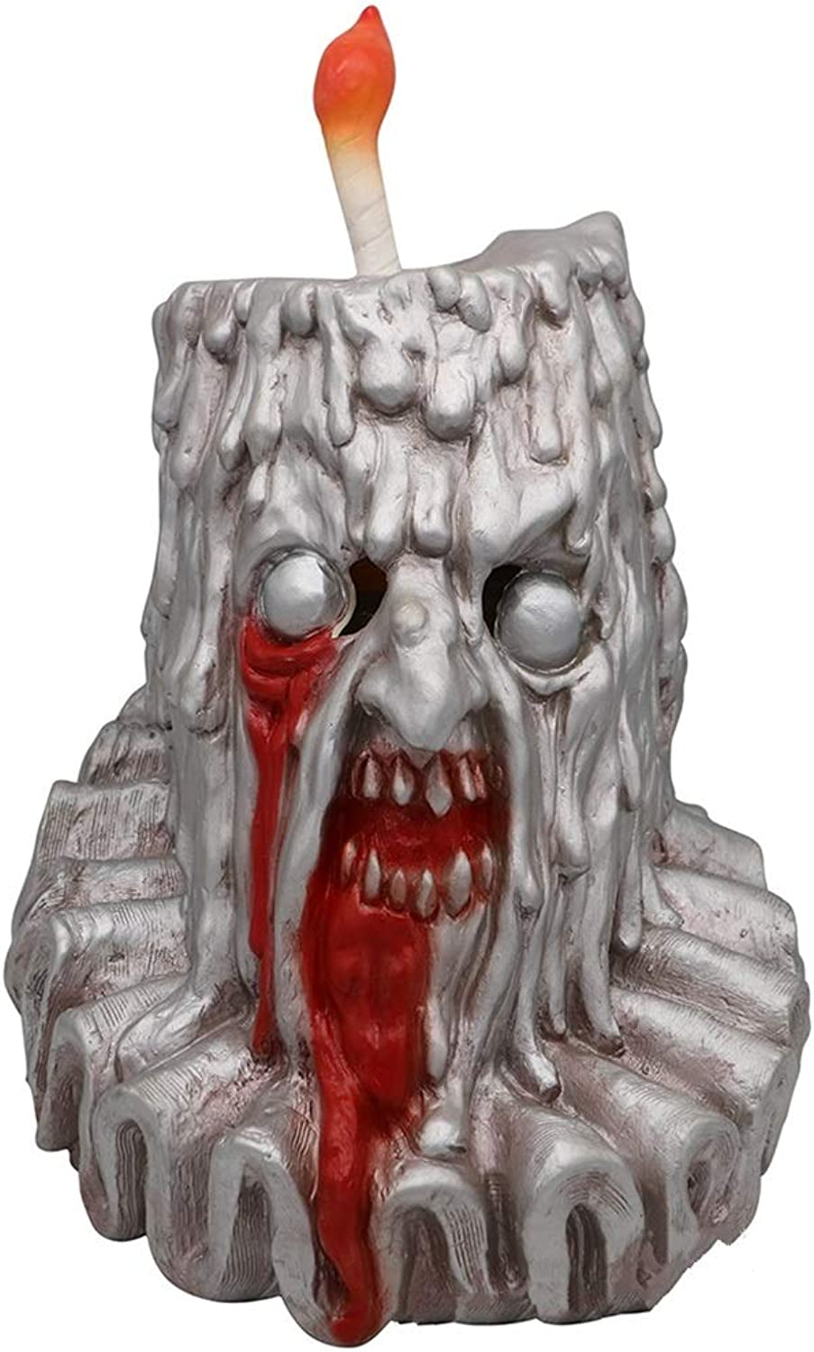 GXDHOME Latex Head Mask,Halloween Candle Man Skull Horror Ghost Zombie Costume Scary Devil Bloody Creepy Fancy Dress