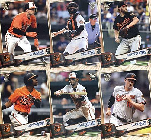 2019 Topps Big League Baseball Baltimore Orioles Team Set of 9 Cards: Mark Trumbo(#56), DJ Stewart(#57), Trey Mancini(#146), Dylan Bundy(#153), Jonathan Villar(#180), Cedric Mullins(#204), Andrew Cashner(#213), Chance Sisco(#219), Joey Rickard(#263)