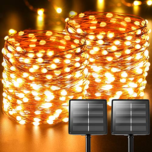 [2 Pack] Solar Fairy Lights, 72Ft 220LED Super Bright Solar String Lights Outdoor 8 Modes Copper Wire Decorative Solar Powered Garden Lights Waterproof for Tree Patio Fence Weeding Party (Warm White)