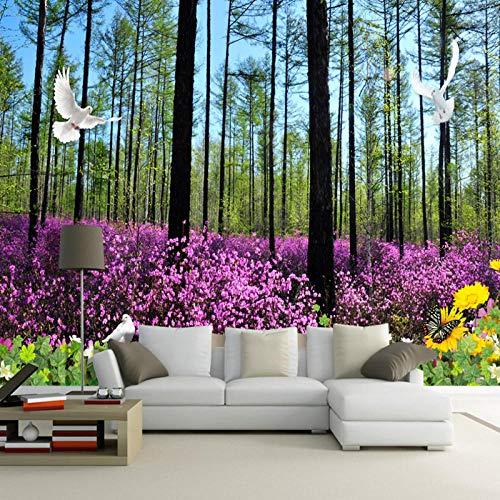Fotobehang, behang voor muren 3D oerwoud bloem zee fotobehang, woonkamer TV achtergrond wooncultuur 280 cm (B) x 180 cm (H)
