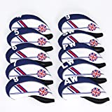 TOHMLAPE FLTRADE GOLF 10pcs UK Flag Patterned Neoprene Golf Club Iron Head covers cover set Headcovers Protect...