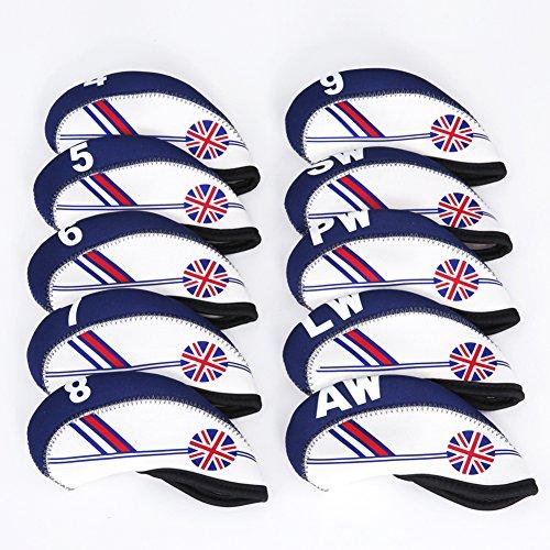 TOHMLAPE FLTRADE GOLF 10pcs UK Flag Patterned Neoprene Golf Club Iron Head...