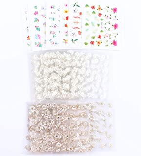 MZCMSL 3D Flower Nail Art Stickers Adhesive (Color/White and Rhinestone/White and Gold Metal) Flowers Nail Decals Stickers,35 Sheets