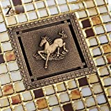LIXUDECO los desagües de Piso Los drenajes Cuadrados ZGRK DREN de la Ducha 12x12cm Antiguo de latón Macizo Piso de Drenaje Tapa del Filtro de baño de baño Accesorios de Arte talladas (Color : Horse)