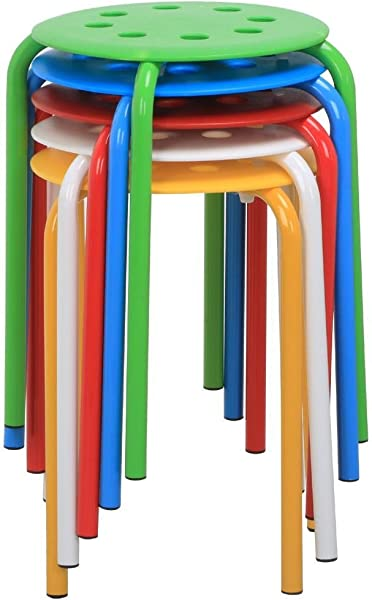 Go2buy 5 Color Portable Plastic Stackable Stools Round Top Backless Armless Bar Stools Set