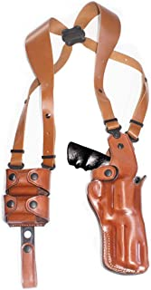 Premium Leather Vertical Shoulder Holster System with Double Speed Loader, Smith Wesson Model 686 Plus 357 Magnum 7-Shot 4'' BBL, Right Hand Draw Brown Color #1509#