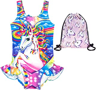 Girls Unicorn Bathing Suit One Piece Swimsuit Ruffle Swimwear - Free Bag