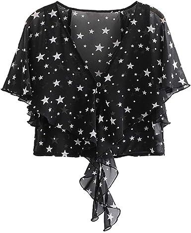 Camisa Negra para Mujer Estrellas Blancas Camisas Casuales ...