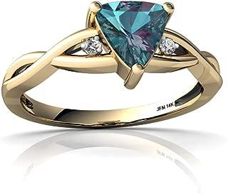 14kt Gold Lab Alexandrite and Diamond 6mm Trillion Twist Ring