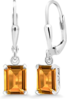 الأحجار الكريمة حجر الملك الفضة الاسترليني سترين أصفر أقراط الأحجار الكريمة جوهرة المولد 3.30 cttw الزمرد قطع 8X6MM