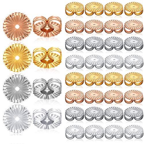 80 Stücke Ohrring Rücken Ersatzteile Sichere Verriegelung Ohrring Rücken Metall Ohrring Rücken Clips Blütenform Ohrring Rücken für Ohrstecker, 4 Farben