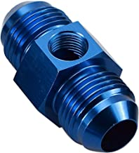 Blue Anodized -6 AN Male to AN6 Male Flare Union Coupler Aluminum Fitting Adapter with 1/8