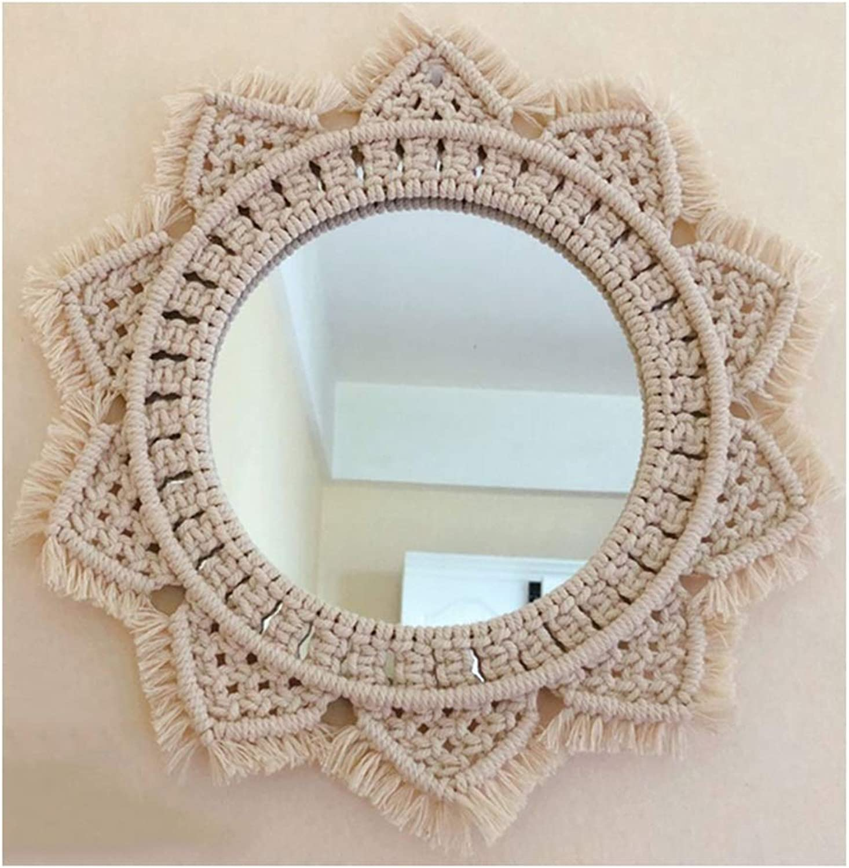 YANZHEN Mirror Wall-Mounted Hemp Rope Hand Made Irregular Edge Make Up Retro Nostalgia Home 4 Styles (color   C)