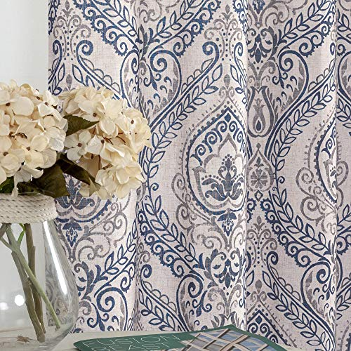 jinchan Vintage Linen Curtains for Living Room with Medallion Damask Printed Drapes for Bedroom Medallion Curtain Sets for Windows Patio Door 2 Panels 84 Inch Blue