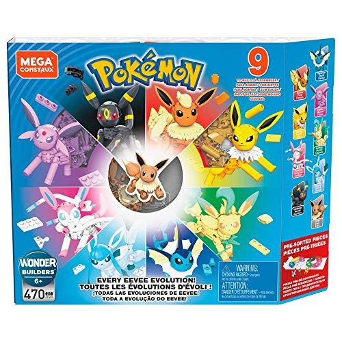 Mega Construx GFV85 - Pokémon Evoli Legendäres Evolitionsset mit 9 Figuren mit 470 Bausteinen, Spielzeug ab 6 Jahren