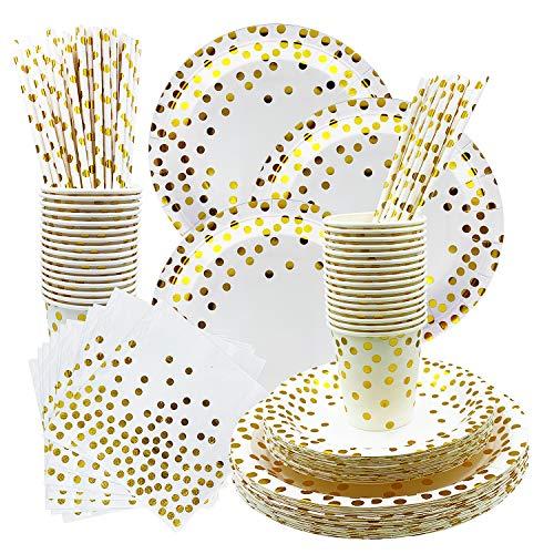 Rorchio 150pcs Vaisselle Jetable Or, 30 invités Vaisselle Jetable Anniversaire Gobelets et Assiettes Jetables Blancs Dorés Carton, Pailles en Papier et Serviettes pour Mariage, Noces, Noël et Fêtes