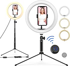 "10"" LED Ring Light with Tripod Stand Adjustable & Phone Holder, Bluetooth Remote Shutter for Makeup/Live Stream/YouTube Vi..."