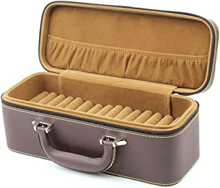 Jewelry Cases Women Travel High-Grade Leather Multi-Function Travel Portable Jewelry Ring Stud Storage Box 15 Bit Bracelet Box,Brown