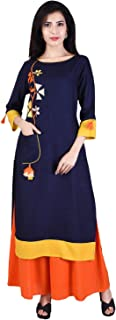 Indiwest Women's Rayon Embroidered Kurta and Palazzo Set