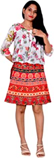 Rajvila Rajasthani Wrap around Printed Skirt for Women Jaipuri Print Skirt (F_W18NT_0003)