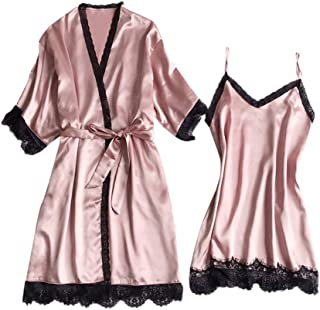 CCOOfhhc_Sleepwear Sets for Women Lace Nightgown V-Collar Satin Short Robe Kimono with Belt Two Piece Short Set