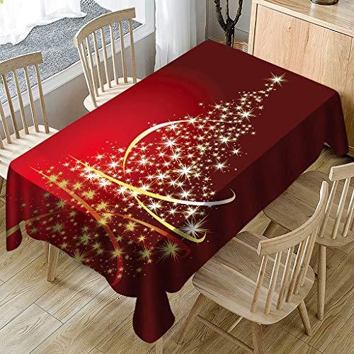 88AMZ Mantel de decoración navideña, Mantel Mesa Rectangular Antimanchas Impermeable, Material 100% Tela de Vinilo Plástico Cubremesa para de Hogar Picnic del Hotel Tienda (150X300cm, A Rojo)