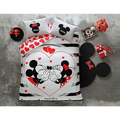 Disney - Juego de funda de edredón de Minnie y Mickey San Valentín con inscripción «Amour so in love», 100 % algodón, cama de matrimonio, 4 piezas