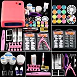 COSCELIA Gel Constructor Uñas UV Gel Kit Uñas Poly UV Gel con Lampara Tip de Uñas Postizas con Pegamento Kit Completo Poly UV Gel