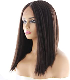 Hairpieces Lace front Long Straight Wig with Bangs Synthetic Hair Wigs with Wig for Woman Black Brown Heat Resistant Wigs ...