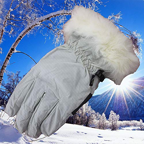 Ywzhushengmaoyi Skihandschuhe, Wasserdichte wärmste Winter Schnee Handschuhe für Damen, Mädchen, Kinder (Color : White)