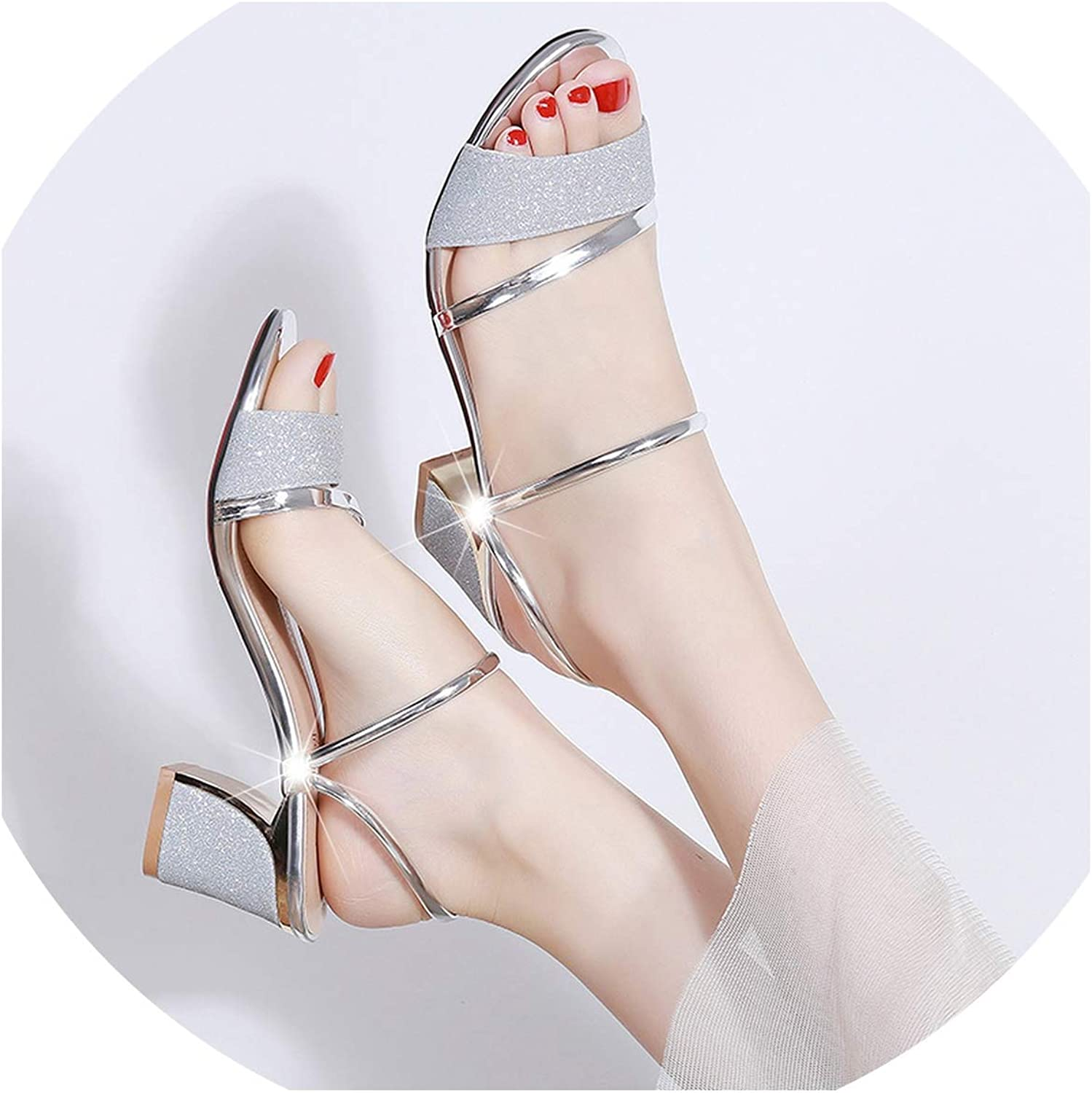 Summer Flat Sandals shoes Square Heel Sandalias Buckle Sandals High Heels Strap Sandals