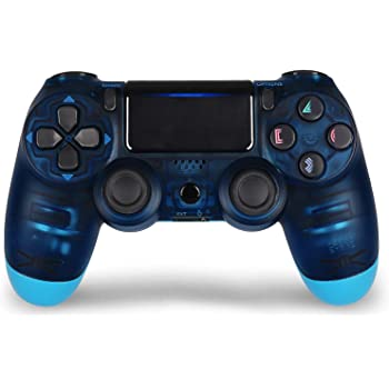 Amazon Com Game Controller For Ps4 Wireless Controller For Playstation 4 With Dual Vibration Game Joystick Transparent Blue Computers Accessories